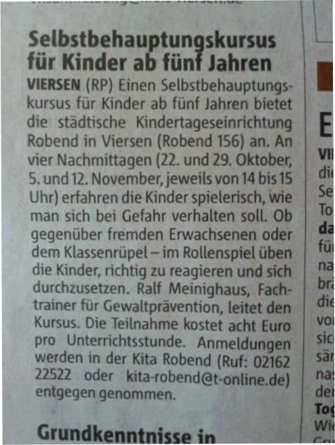 Kids-WingTsun Rheinische Post