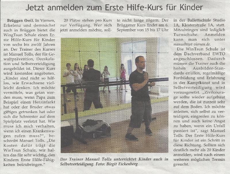 Grenzland-Nachrichten Juni 2014 Selbstverteidigung Brüggen